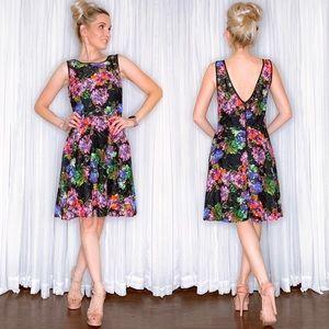Betsey Johnson Black Pink Floral Lace Dress